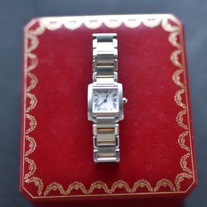 Cartier tank francaise 18mm silver & gold watch